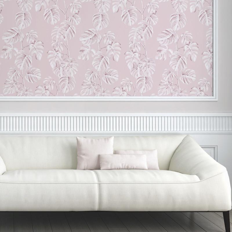 Papier peint Jungle Bananier rose et blanc - GREENERY - AS Creation - 372811