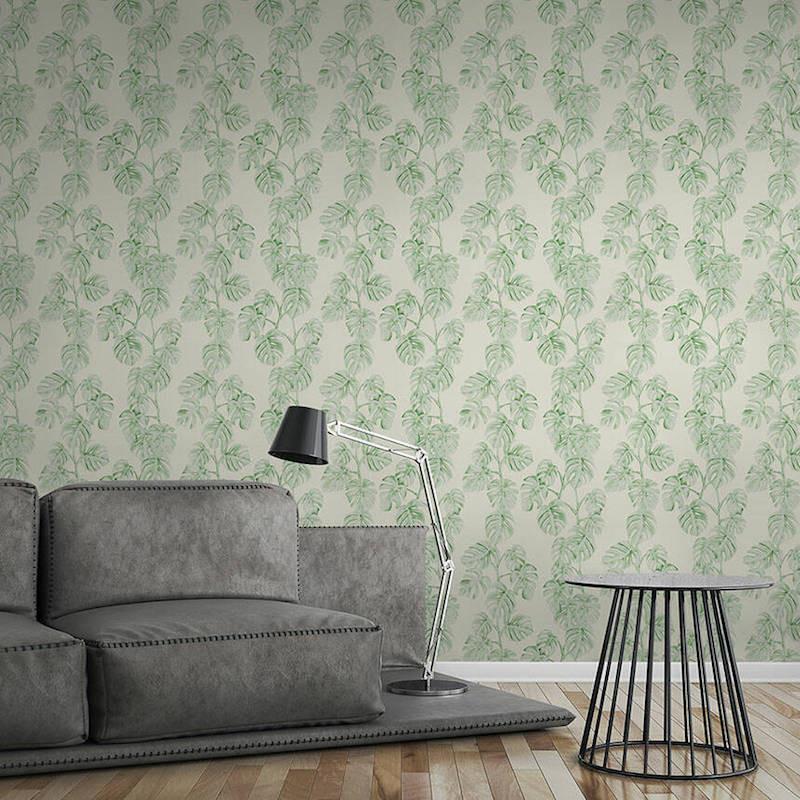 Papier peint Jungle Bananier vert et blanc - GREENERY - AS Creation - 372813