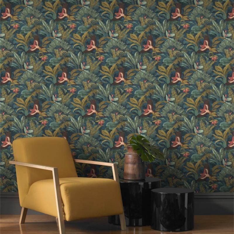 Papier peint Jungle Nocturne vert - Rasch - 639216