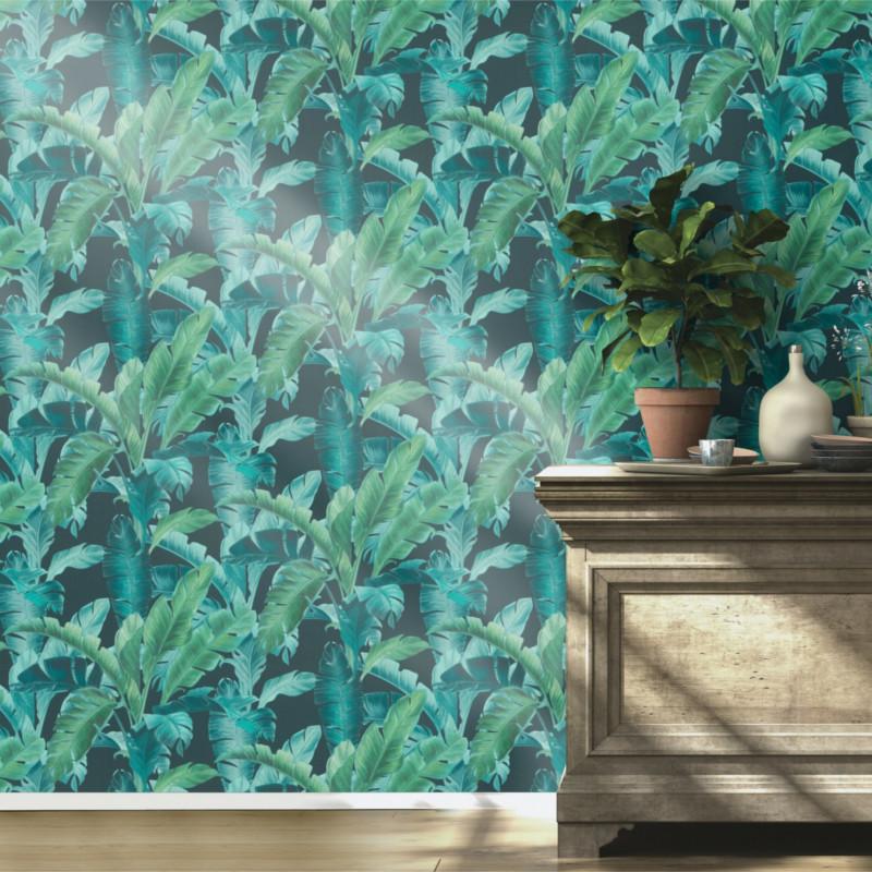 Papier peint Feuillage bleu vert - BARBARA HOME COLLECTION - Rasch - 536690