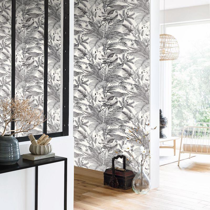 Papier peint Tropical Worlds noir et blanc - MOONLIGHT - Caselio - MLG101039000