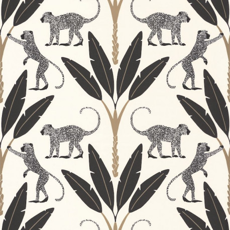 Papier peint Monkey Forest noir, blanc et or - MOONLIGHT - Caselio - MLG101179020