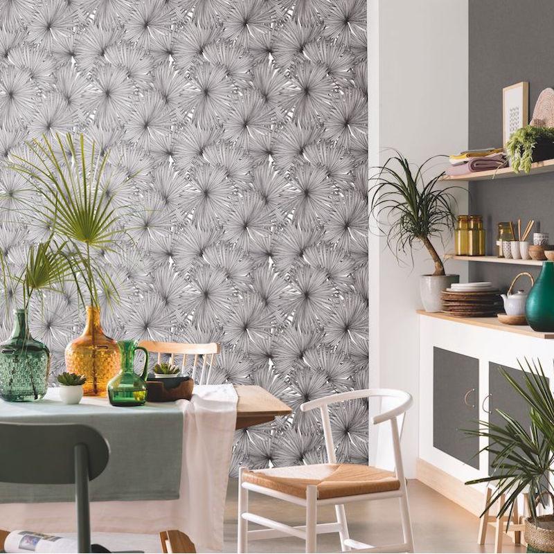 Papier peint Coconut noir et blanc - MOONLIGHT - Caselio - MLG101249000