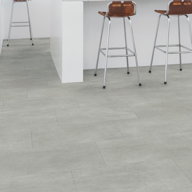 """Lame PVC clipsable """"Béton gris chaleureux AMCP40050"""" - Livyn Ambient Click + QUICK STEP (très résistant)"""