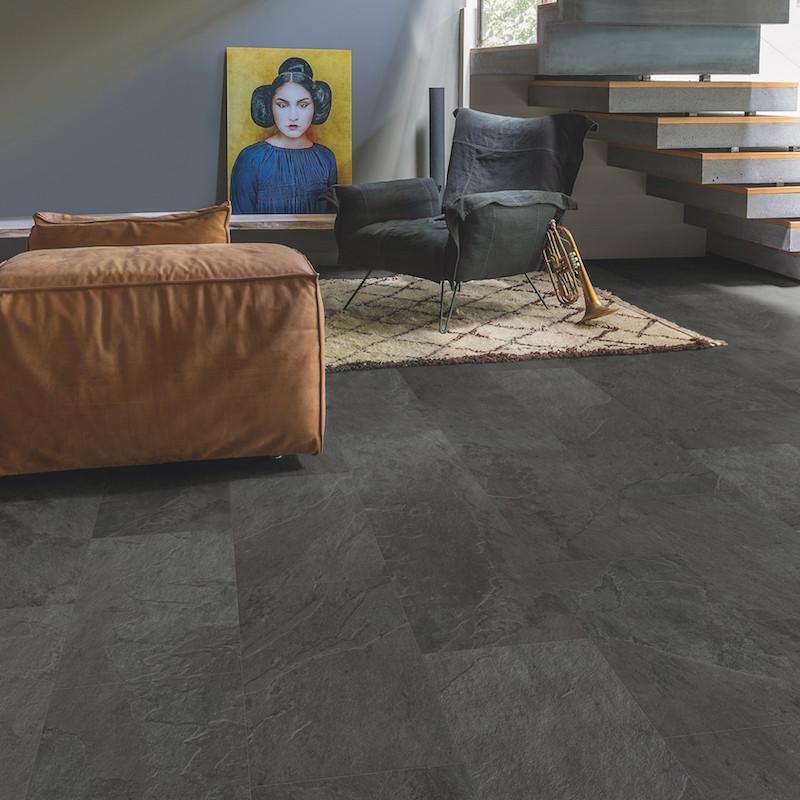 """Lame PVC clipsable """"Ardoise noire AMCP40035"""" - Livyn Ambient Click + QUICK STEP (très résistant)"""