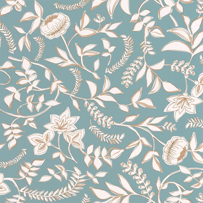 Papier peint Honour bleu indien beige doré - MYSTERY - Caselio MYY101586007