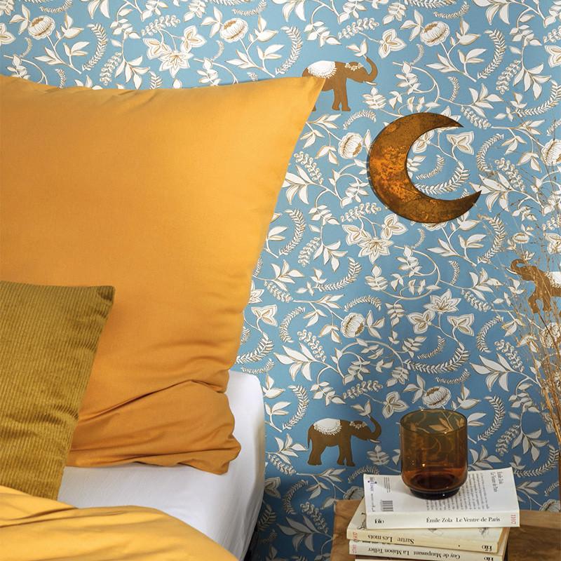 Papier peint Wisdom bleu indien beige doré - MYSTERY - Caselio MYY101596217