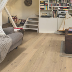 """Parquet contrecollé """"Chêne blanc coton mat COM1451"""" - Compact QUICK STEP"""