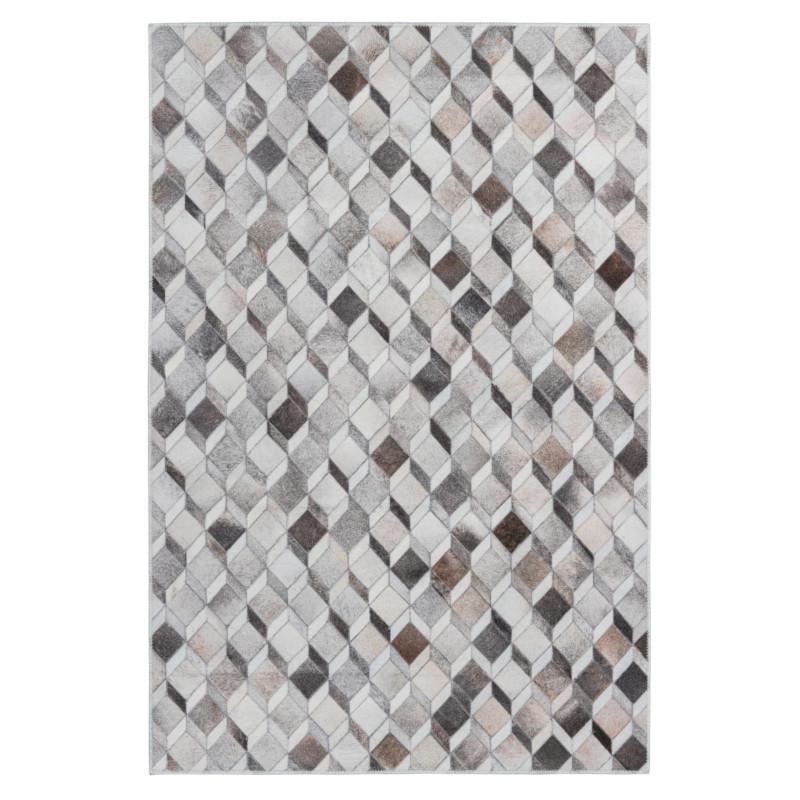 Tapis imitation peau de bête - Cubes 3D blanc et marron - Bonanza 524