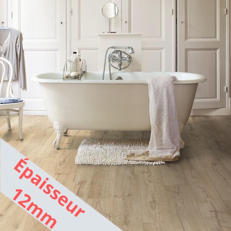 """Sol Stratifié """"Chêne classique beige monolames IMU1847"""" - Impressive Ultra QUICK STEP (très résistant)"""