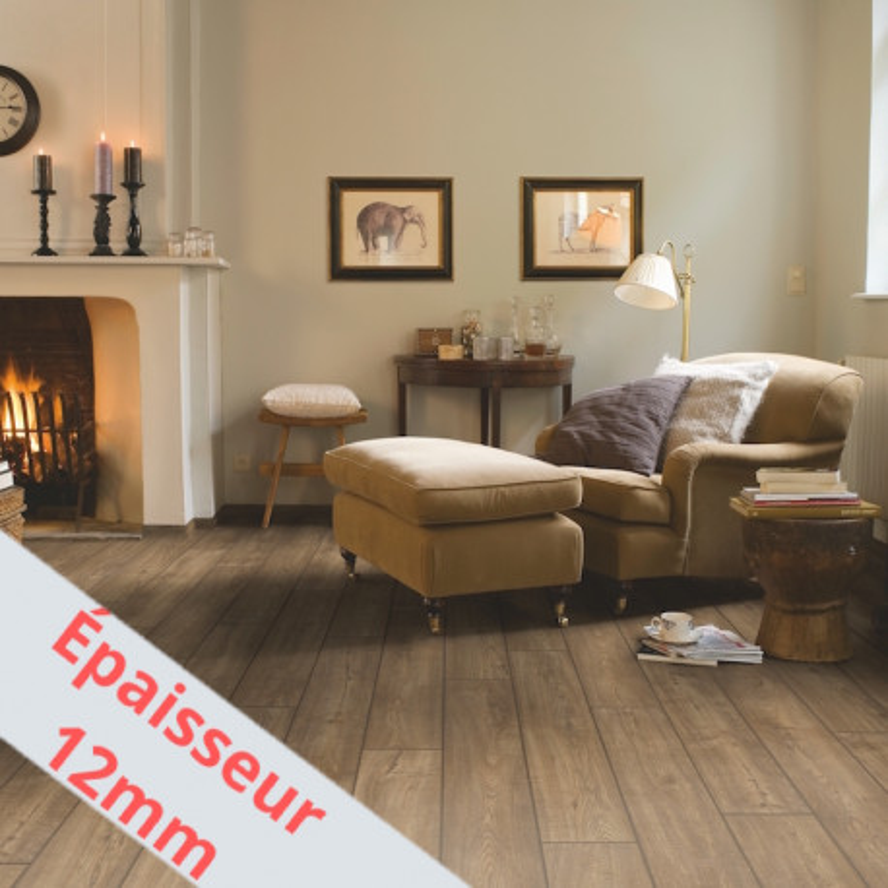 """Sol Stratifié """"Chêne aspect vieilli gris brun monolames IMU1850"""" - Impressive Ultra QUICK STEP (très résistant)"""