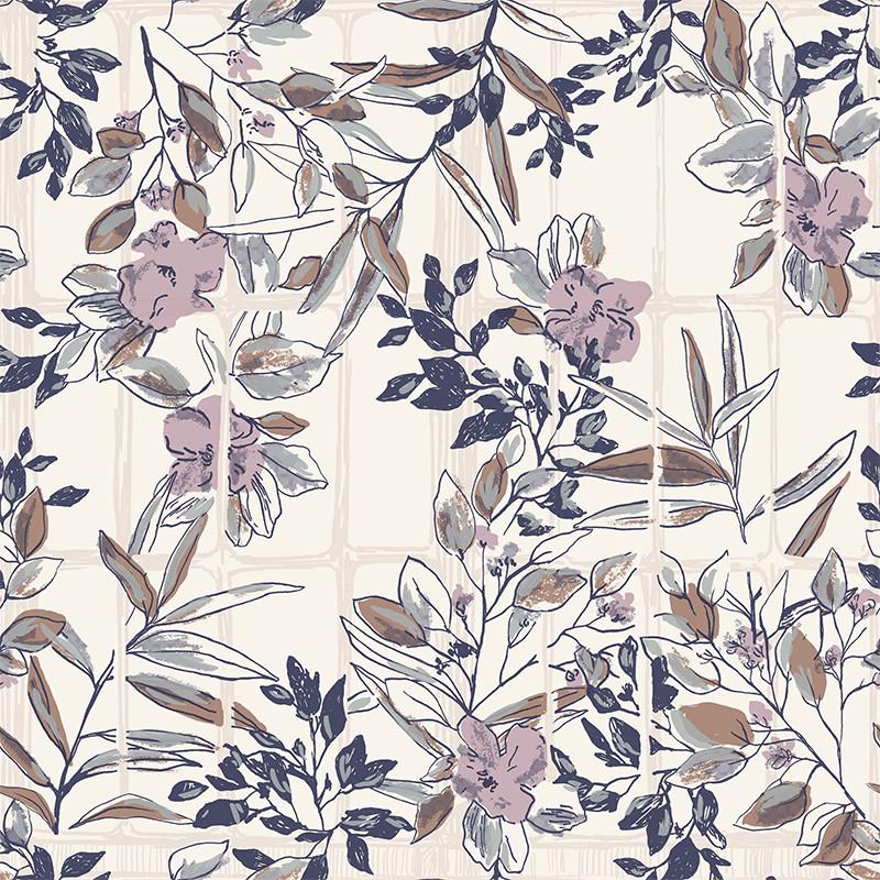 Papier peint Camelia violine - JARDINS SUSPENDUS - Casadeco - JDSP85235174