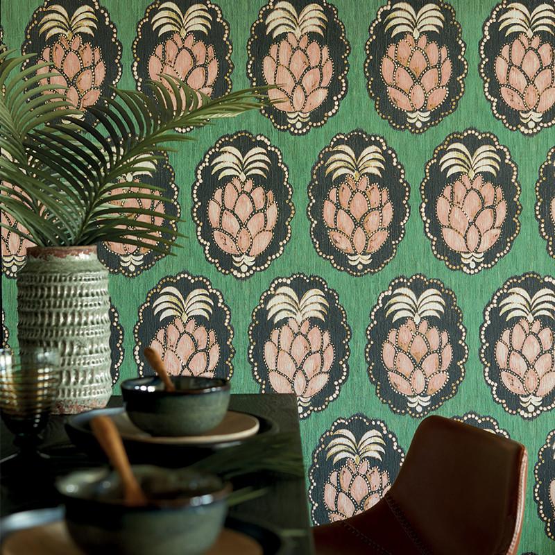 Papier peint Pina vert - CUBA - Casadeco - CBBA84357434