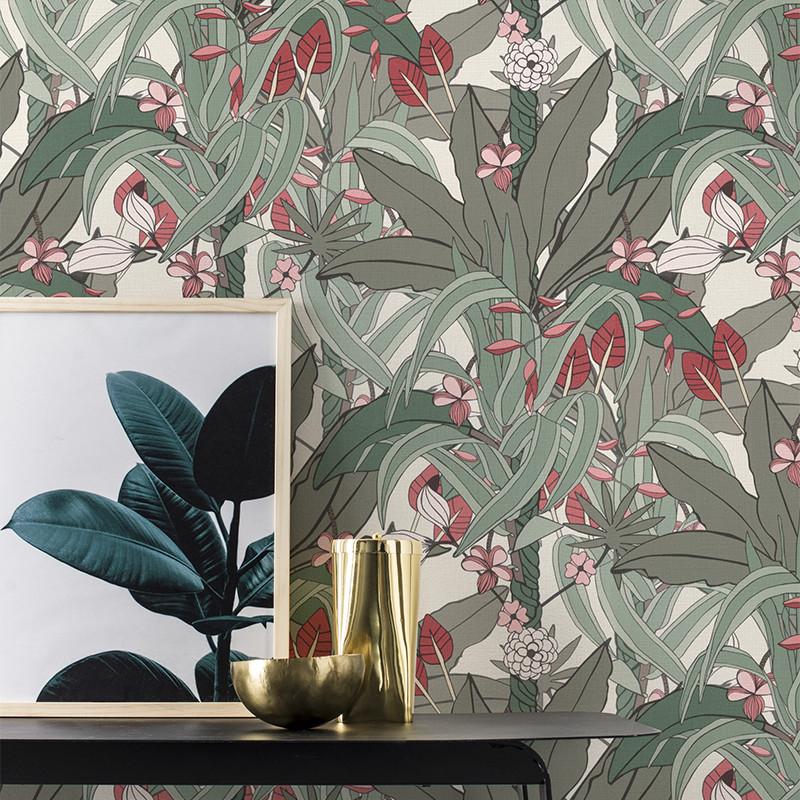 Papier Peint Urban Jungle gris, rose et beige - CLUB BOTANIQUE - Rasch - 538915