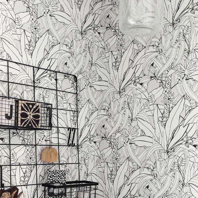 Papier Peint Urban Jungle blanc et noir - CLUB BOTANIQUE - Rasch - 538946