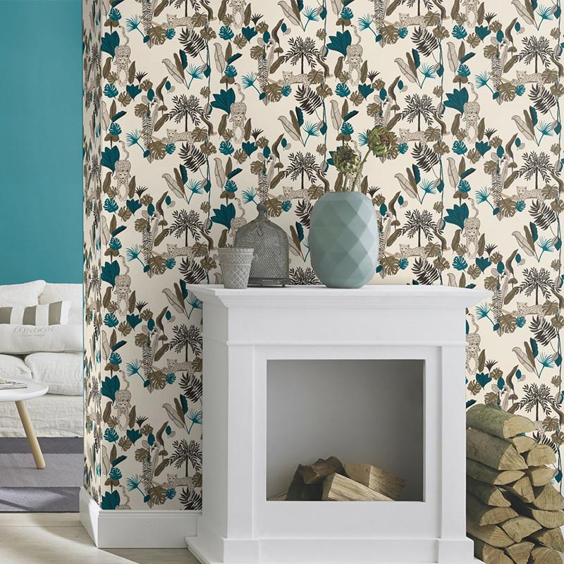 Papier peint Palm Leopard bleu et kaki - CLUB BOTANIQUE - Rasch - 540345