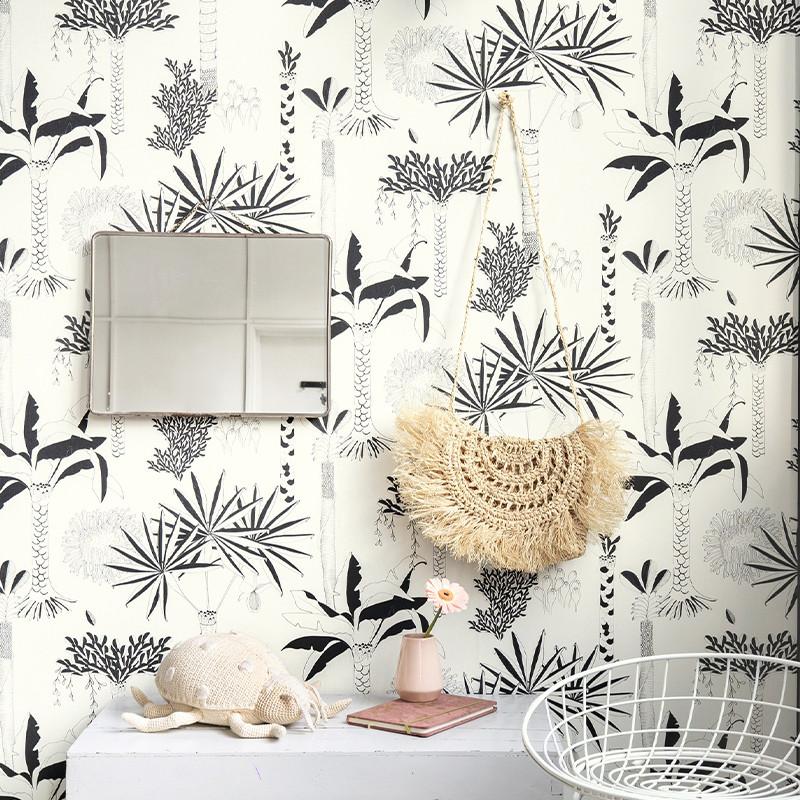 Papier peint Cocotier noir et blanc - CLUB BOTANIQUE - Rasch - 540031