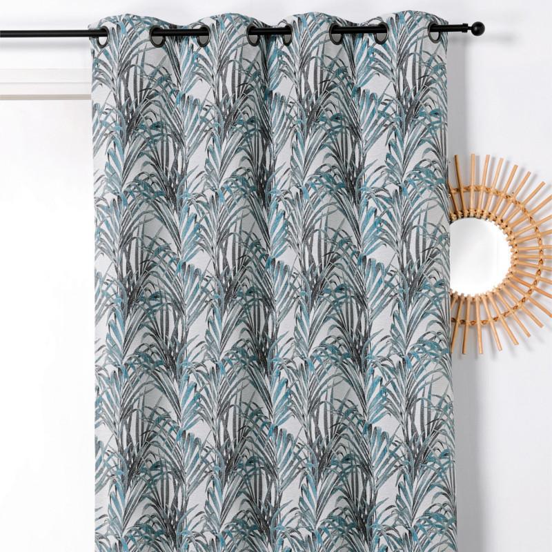 Rideau à œillets Tropico bleu - Linder - 1901-40