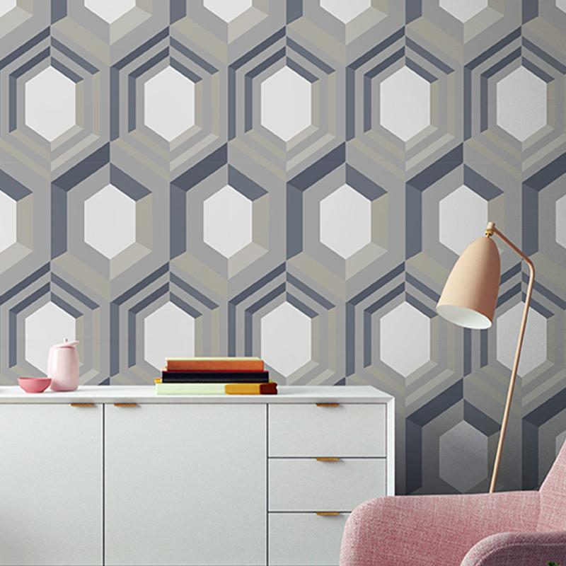 Papier peint Hexagonal 3D argent et beige - GALACTIK - Ugepa - J40708