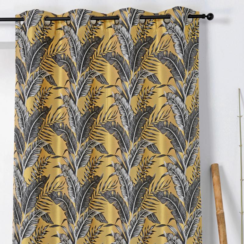 Rideau à œillets Sumatra jaune et gris - Linder - 1906-30