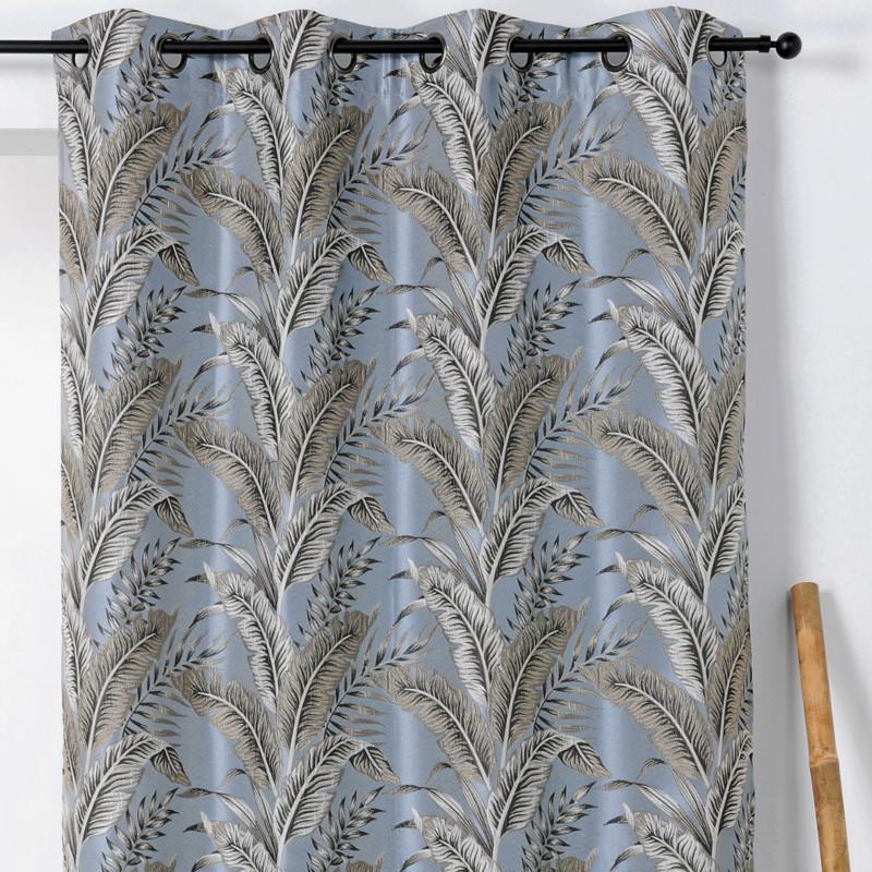 Rideau à œillets Sumatra gris bleuté - Linder - 1906-40
