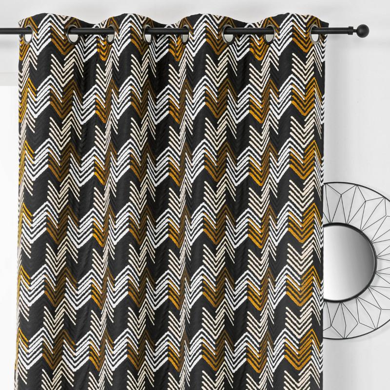 Rideau à œillets Apache noir et doré - Linder - 0538-19