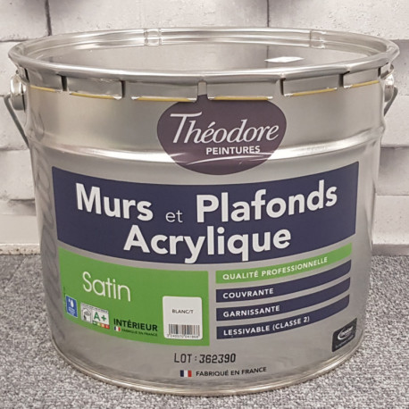 """Peinture intérieure spéciale """" MURS ET PLAFONDS"""" blanc satin - THEODORE  - 10L"""