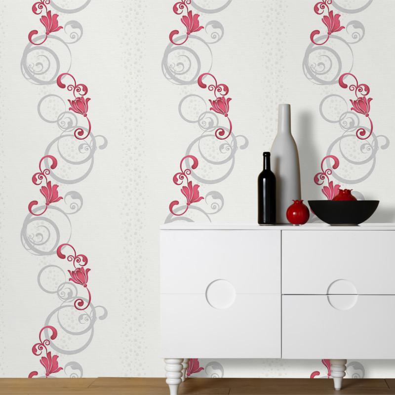 Papier peint Spiral Floral gris et rouge - Erismann - 13287-20