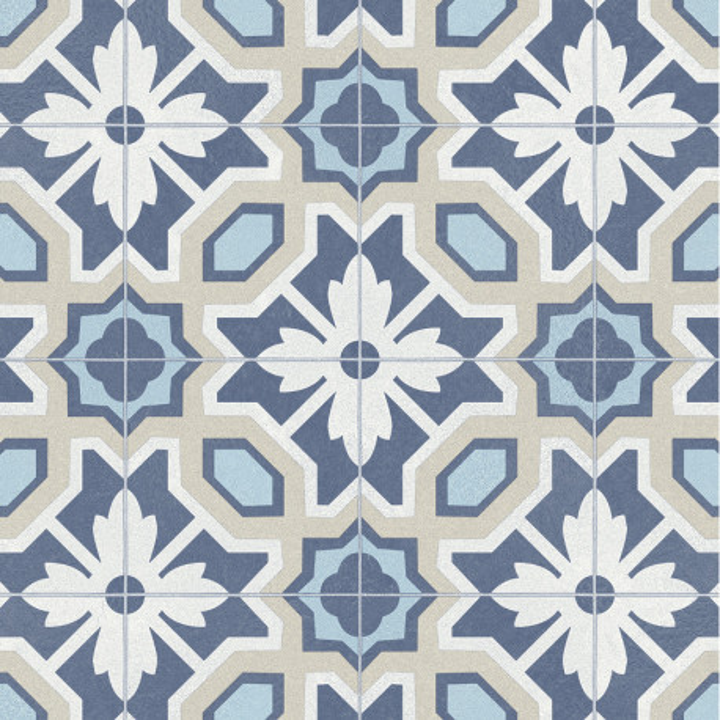 Sol PVC - Eleanor 576 carreaux de ciment bleu beige - Materia IVC - rouleau 3M