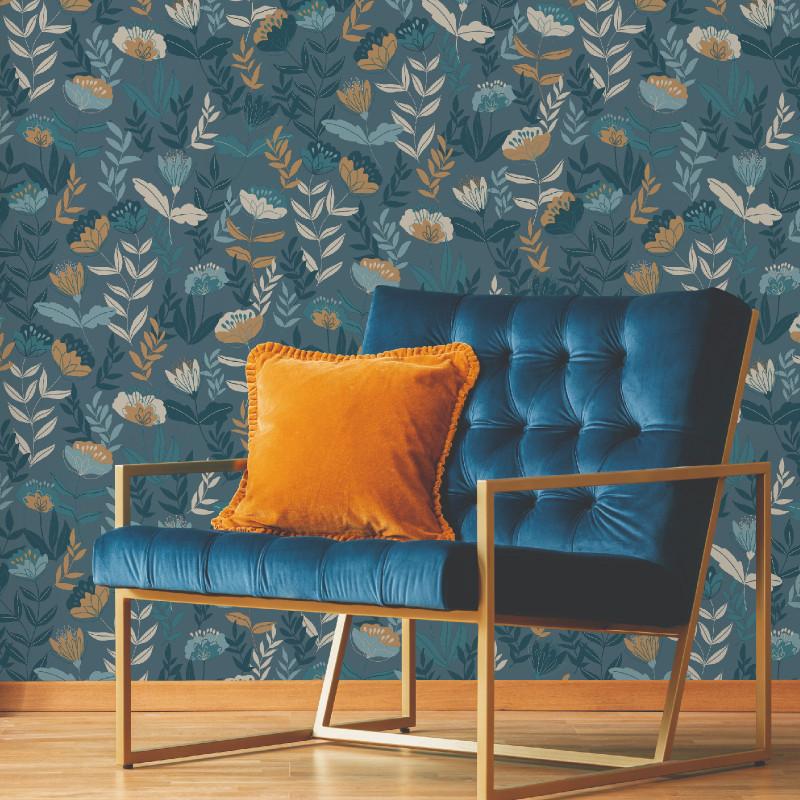 Papier peint Abstract Flowers bleu  - MELODY - Lutèce - 51194511