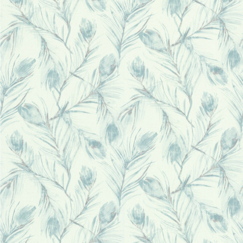Papier peint Plumes de Paon bleu - Lutèce - FRAGRANCE - 51193901