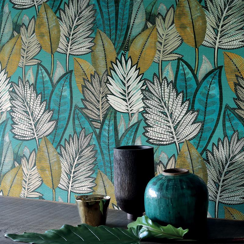 Papier peint Sabal vert d'eau - MANILLE - Casamance - 74680264