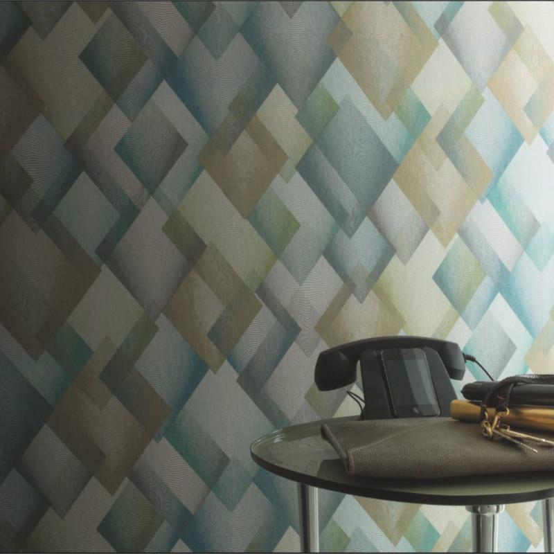 Papier peint Catwalk losange vert bleu gris - DANDY - Casamance - 72370498