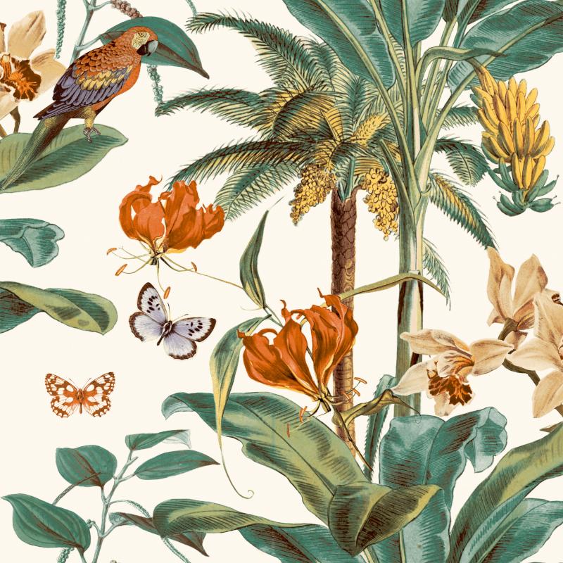 Papier peint Tropical Palm jaune - JUNGLE FEVER - Grandeco Life - JF2002