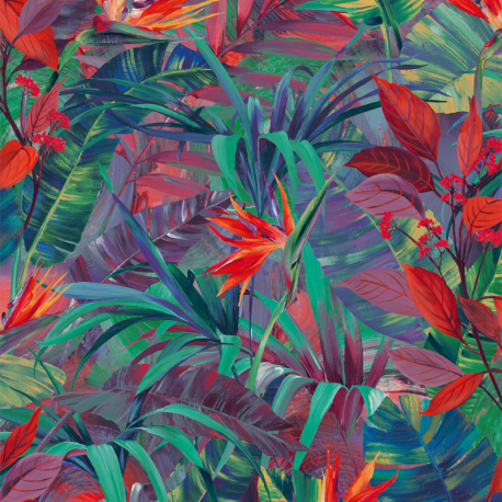 Papier peint à motif PARADISE FLOWER rouge JF2301 - JUNGLE FEVER - Grandeco