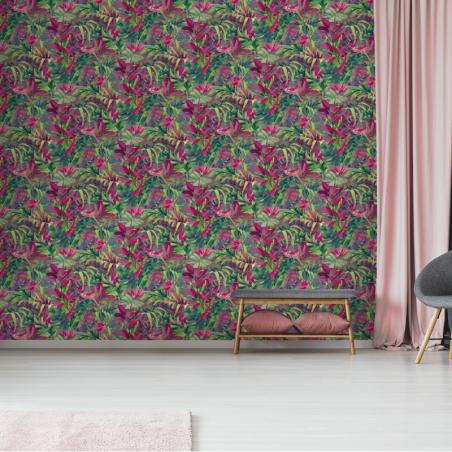 Papier peint Paradise Flower rose - JUNGLE FEVER - Grandeco Life - JF2303