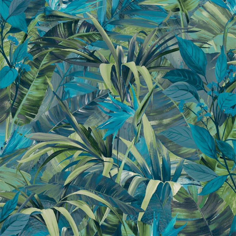 Papier peint Paradise Flower  bleu - JUNGLE FEVER - Grandeco Life - JF2302