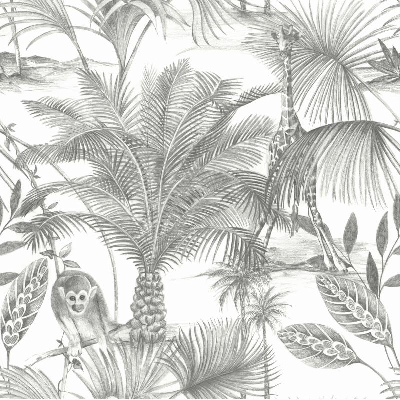 Papier peint Kidatu noir - JUNGLE FEVER - Grandeco Life - JF3501