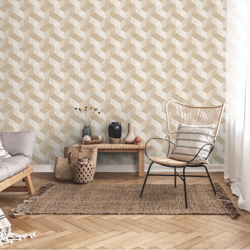 Papier peint Freno beige - JUNGLE FEVER - Grandeco Life - JF3301