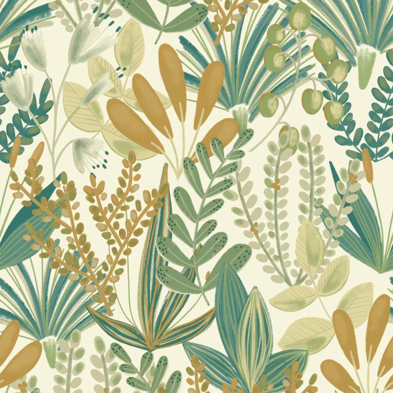 Papier peint Early Blossom vert - JUNGLE FEVER - Grandeco Life - JF3702