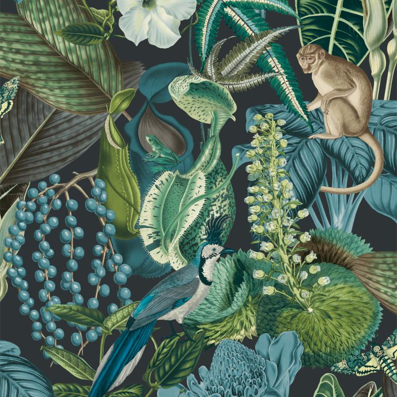 Papier peint Amazon bleu - JUNGLE FEVER - Grandeco Life - JF2202