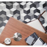 Revêtement PVC - Largeur 4M - Cube-It Cubes 97 noir, gris et blanc - IVC