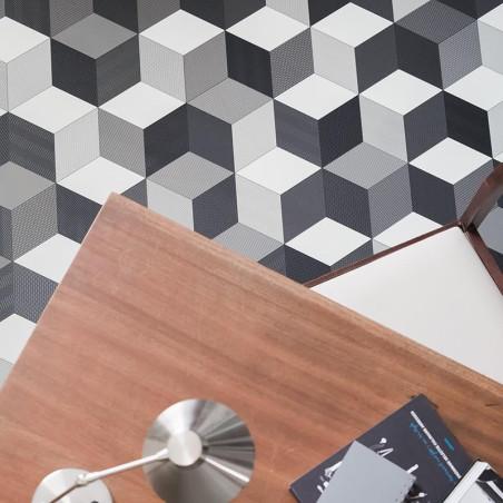 Sol PVC - Cubes 97 Cube-It 3D noir gris blanc - Bingo IVC - rouleau 4M