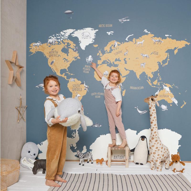 Panoramique World Map bleu et beige - OUR PLANET - Caselio - OUP102032066