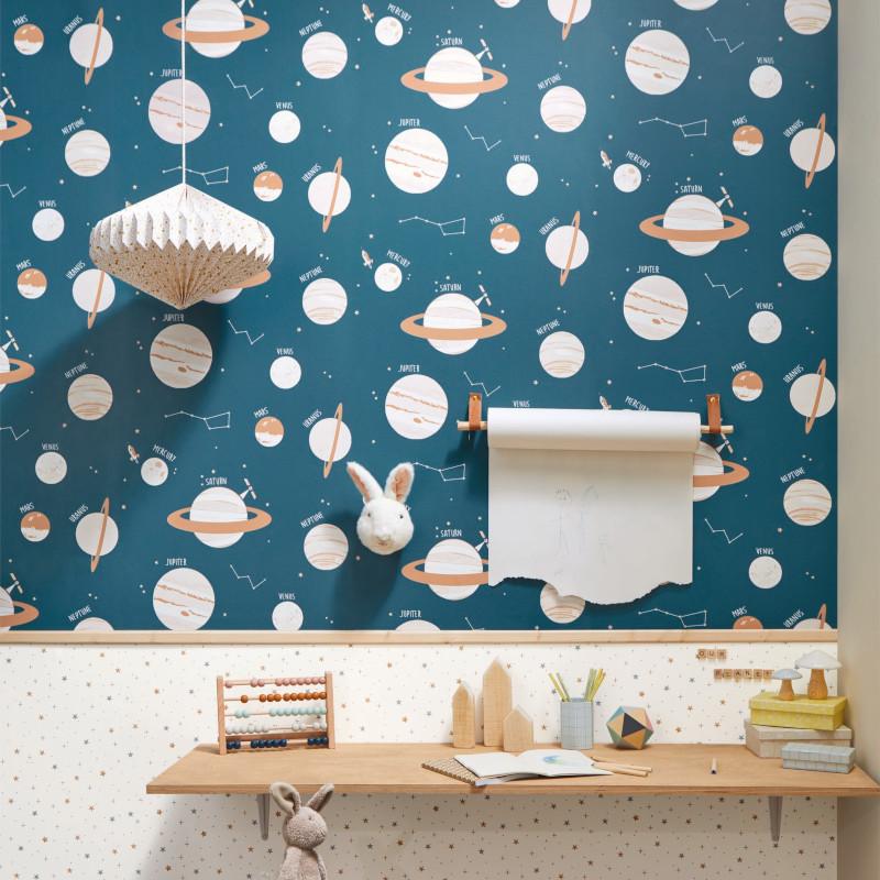 Papier peint Universe bleu jean et beige - OUR PLANET - Caselio - OUP101906011