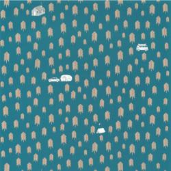 Papier peint Summer Camp bleu jean - OUR PLANET - Caselio - OUP101976029
