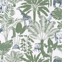 Papier peint Jungle Trip vert kaki et bleu nuit - OUR PLANET - Caselio - OUP101957403