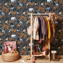Papier peint Jungle Trip bleu nuit et camel - OUR PLANET - Caselio - OUP101956915