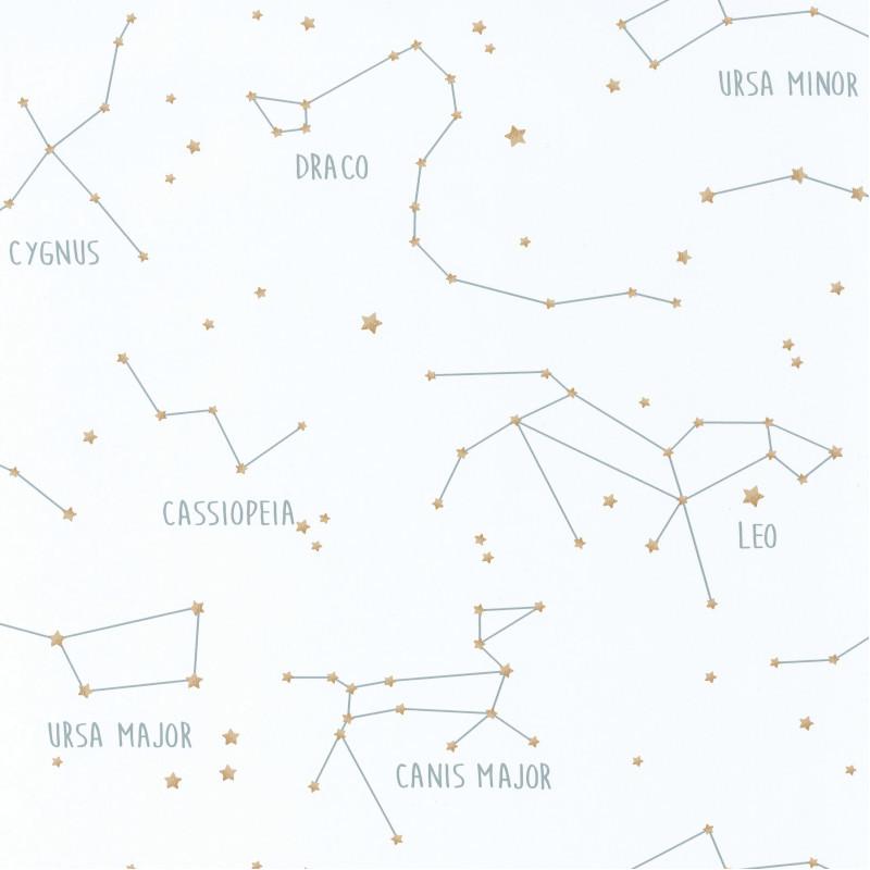 Papier peint Constellations blanc et vert d'eau - OUR PLANET - Caselio - OUP101917125