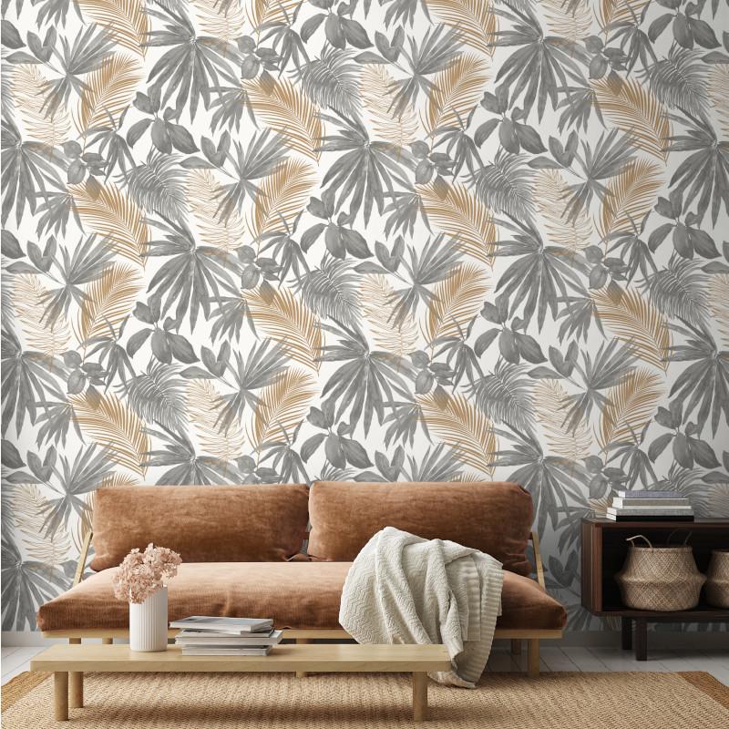 Papier peint Wild Palms gris et doré - JUNGLE FEVER - Grandeco Life - JF3601